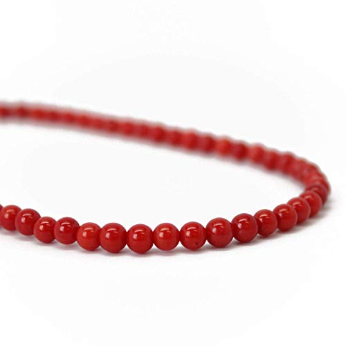 Red Coral Necklace-4mm Beads-Sterling Silver Clasp-16