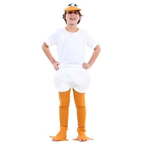 Fantasia Pato Infantil 23638-m Sulamericana Fantasias Laranja/branco M-4 Anos