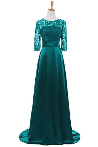 Snowskite Women's Half Sleeves Lace Satin Mother of The Bride Groom Dress Hunter Green 0 by Snowskite