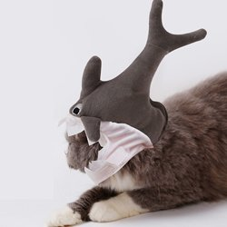 (Blue Stones Pet Shark Hat Cute Turn Head Halloween Cat Dog Headdress 3D Cross Hat Pets Cap Plush)