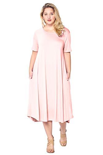 Modern Kiwi Plus Size Short Sleeve Flowy A-Line Pocket Midi Maxi Dress Blush 1X