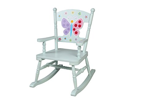 Wildkin Butterfly Garden Rocking Chair, Features Classic Rocker Design and Durable Wood Construction, Measures 23 x 16 x 28 Inches, Olive Kids Design