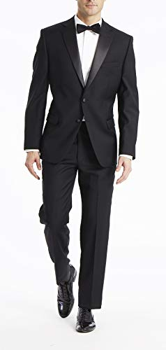 Calvin Klein Men's Modern Fit 100% Wool Tuxedo, Black, 44 Regular