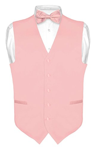 (Vesuvio Napoli Men's Dress Vest & Bowtie Solid Dusty Pink Color Bow Tie Set XL)