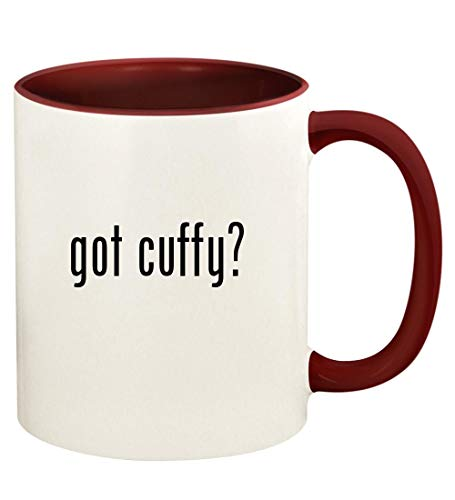 got cuffy? - 11oz Ceramic Colored Handle and Inside Coffee Mug Cup, Maroon