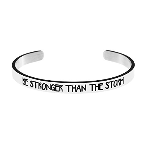 Fearless Affirmation Bracelet - Yiyang Inspirational Cuff Bangle Bracelet Silver Be Stronger Than The Storm Inspritional Bangle for Women (Silver)