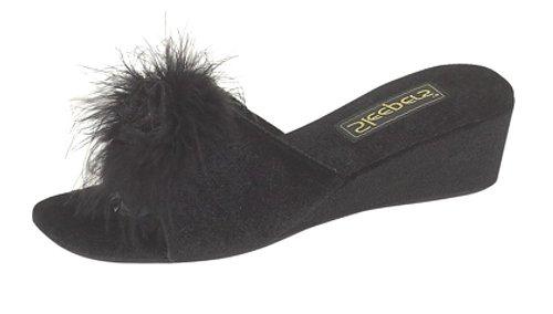 Ladies Jewelled Rosette Boa Mule Slippers Black size 5 llAlhzI