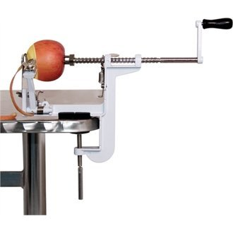 WIN-WARE Easy to use Hand Held Manual Apple peeling/peeler machine. Heavy Duty Cast iron body, with carbon steel blade and stainless steel shaft. Peels skin off apple in 10 seconds. Comes with clamp base for bench attachment. Cores as well as peels. Gift Boxed, Garden, Lawn, Maintenance
