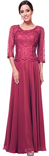 Meier Women's Half Sleeve Lace Rhinestone Mother of Bride Evening Party Dress Burgundy M