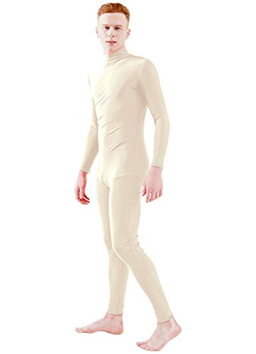 Ensnovo Adult Lycra Spandex Turtleneck Long Sleeve One Piece Unitard Bodysuit Dancewear Nude, XL