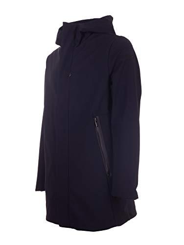 Con Impermeabile Media Lunghezza Cappotto Zip Blu Tasche Collo 54 Misura Alto Rrd C0x5n