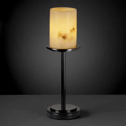 Justice Design Group LumenAria 1-Light Table Lamp - Matte Black Finish with Faux Alabaster Resin Shade