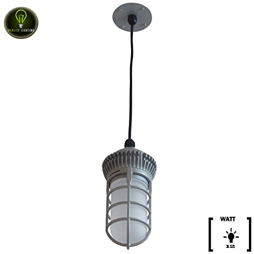 Perlite Lighting 12-Watt 710 Lumens 5000K LED Grey Powder Coated Vaporproof Pendants Mount Light With Frosted Lens Super White LED Fixture (Pendant Powder Coated)