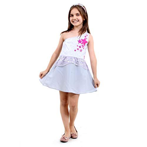 Fantasia Barbie Star Light Curta Infantil Sulamericana Fantasias Cinza M 6/8 Anos