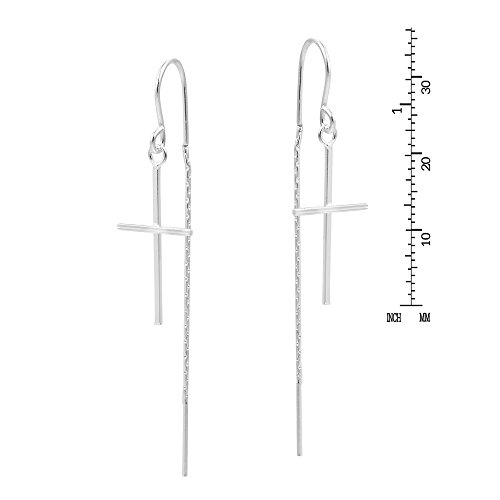Slim Cross Ear Thread Slide .925 Sterling Silver Dangle Earrings