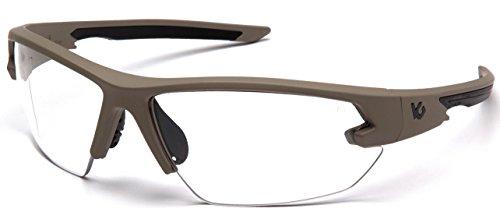 Venture Gear Tactical Semtex 2.0 Safety Shooting Glasses, Tan Frame, Clear Anti-Fog Lens