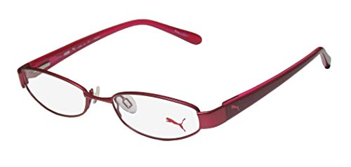 Puma 15357 Pico Mens/Womens Cat Eye Spring Hinges Classic Shape Durable TIGHT-FIT Designed For Jogging/Cycling/Sports Activities Eyeglasses/Eyeglass Frame (48-16-135, Plum) (New Fashion Brillen Frames)