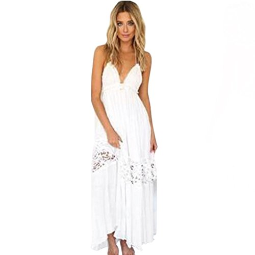 FUNIC Women Summer Boho Long Maxi Dress, Evening Party Dress Beach Dress Sundress (X-Large, White)