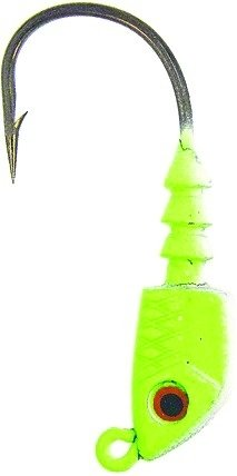 Bass Assassins Lead/Red Eye 1/2-Ounce Jighead Lure-Pack of 4, Chartreuse Flash, Size 4/0
