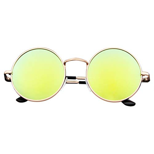 John Lennon Inspired Sunglasses Round Hippie Shades Retro Colored Lenses (Green Ice) ()