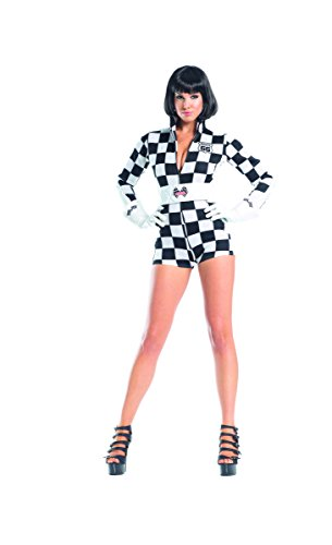 Danica Patrick Costumes (Adult Women's 3 Piece Sexy Race Car Driver Checkered Romper Halloween Party)