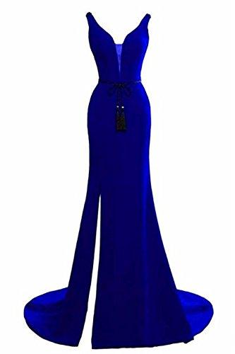 Licheng Robe De Soirée Sans Manches Des Femmes De Mariée Avec Sirène Côté Fendu Robes De Bal Formelles Bleu Royal