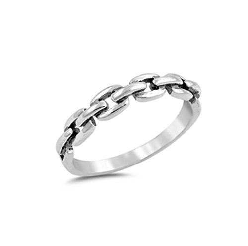 925 Sterling Silver Chain Link Ring Size (3 Link Ring)
