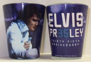 Elvis Presley Shot Glass 35th Anniversary white Jump Suit]()