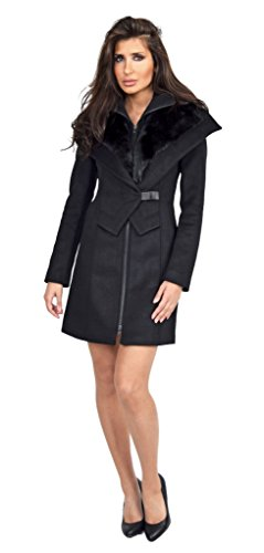 Soia & Kyo Fei Black Winter Wool Coat With Fur Trim - Kyo Black Wool