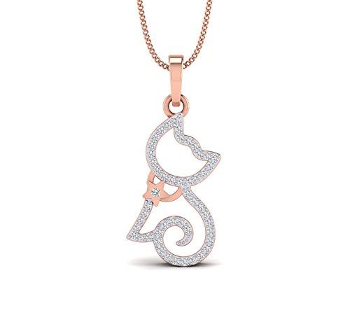 (Fehu Jewel Natural Diamond 14K Gold Cat Pendant(.199 cttw, H-I Color, I1-I2 Clarity) For Women)