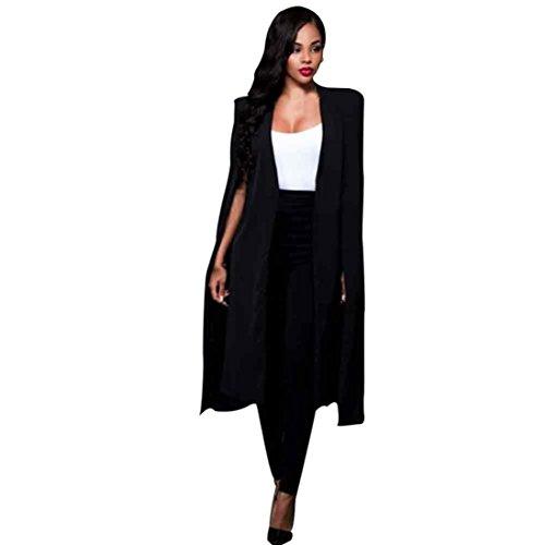 Hot Sale!Elevin(TM)Women Fashion Long Jacket Coat Autumn Winter Street Cloak Jackets (XXL, Black)