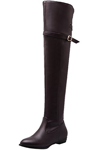 BIGTREE Brown Boots Knee Thigh Autumn High Women Boots Buckle Flat Over Winter Comfortable The rRqOwrna