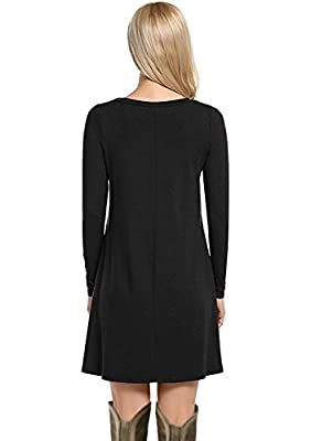 Women's Casual Loose Swing Basic Cotton Tunic Dresses