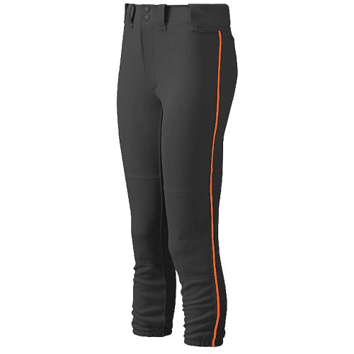 Mizuno Women's Belted Piped Softball Pant, Black/Orange, (Select Piped Pant)