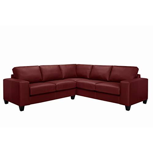 Maroon Leather Grain - Sofaweb.com Paulina Top Grain Italian Leather Sectional Sofa Maroon Red