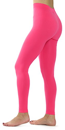 Ylluo Leggings High Waist Pants Buttery Soft Fleece and Non Fleece Tights Regular and Plus Size (S/M/L (US Size 2-10), Neon Fuchsia)]()