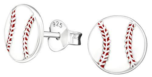 Hypoallergenic Sterling Silver Baseball Stud Earrings (Nickel Free)