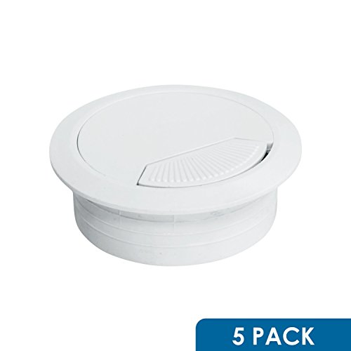 60mm Round White Computer Desk Table Port Wire Cable Organizer Hole Cover Grommet 5 Pack Rok Hardware 2-3//8