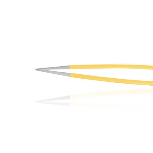 Surgical Tweezers for Ingrown Hair - Stainless Steel Precision Sharp Tweezers for Splinters and Glass Removal - Best for Eyebrow Hair, Facial Hair Removal - Steel Pointy Ends Meet Perfectly- Yellow