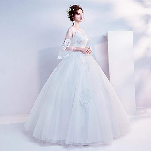 YT-RE Vestido de Novia de la Princesa de la Manga de la Mariposa Vestido de Novia de la Longitud del Piso Vestido de Novia de la Perspectiva Elegante, ...