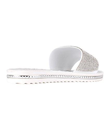KRISP Sandalias Verano Mujer Brillantes Dedo Chanclas Zapatos Flip Flop Chancletas Plateado