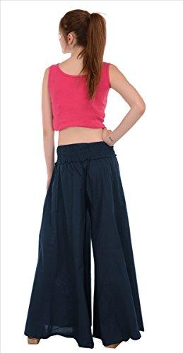 SNS - Pantalones largos estilo Palazzo, de algodón puro azul oscuro