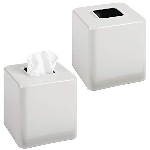 mDesign Modern Square Metal Paper Facial Tissue Box Cover Holder for Bathroom Vanity Countertops, Bedroom Dressers, Night Stands, Desks and Tables - 2 Pack - Light Gray