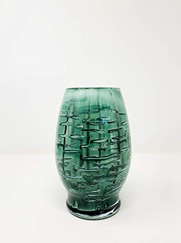 (Forest Green and White Vase | Glass Art | H-7