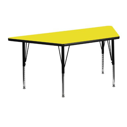 Height Laminate (Flash Furniture 25.5''W x 46.25''L Trapezoid Yellow HP Laminate Activity Table - Height Adjustable Short Legs)