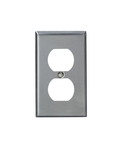 Stainless Steel Wall Plate - Leviton 84003-40 1-Gang Duplex Device Receptacle Wallplate, Standard Size, Device Mount, Stainless Steel