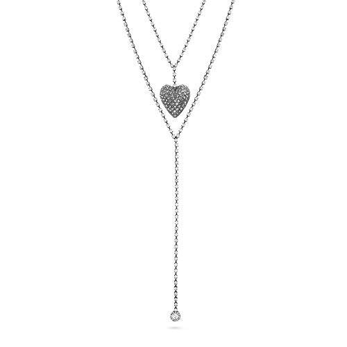 - Steve Madden Women's Rhinestone Jeweled Caviar Heart Layered Lariat Gunmetal-Tone
