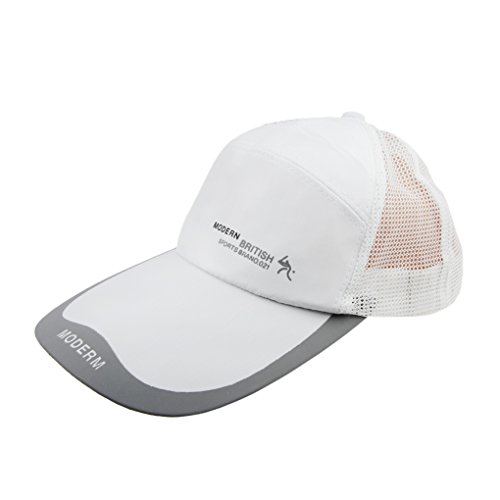 Unisex Adults Summer Quick Dry Breathable Mesh Baseball Cap Long Brim Adjustable Snapback Trucker Outdoor Sports Fishing Running Cycling Tennis Golf Ball Anti UV Sun Protection Visor Baseball Hat Cap,White,Adjustable