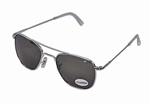 AO Original Pilot Sunglasses, Wire Spatula, Silver Frame, True Color Gray Glass Lens, - Ao Sunglasses Polarized
