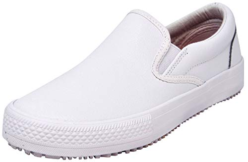 Skechers for Work Women's Maisto Slip Resistant Slip-On, White, 10 M - Textured White Leather